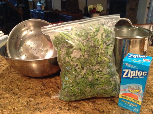 Large pot, large bowl, strainer, and Ziploc freezer bags.